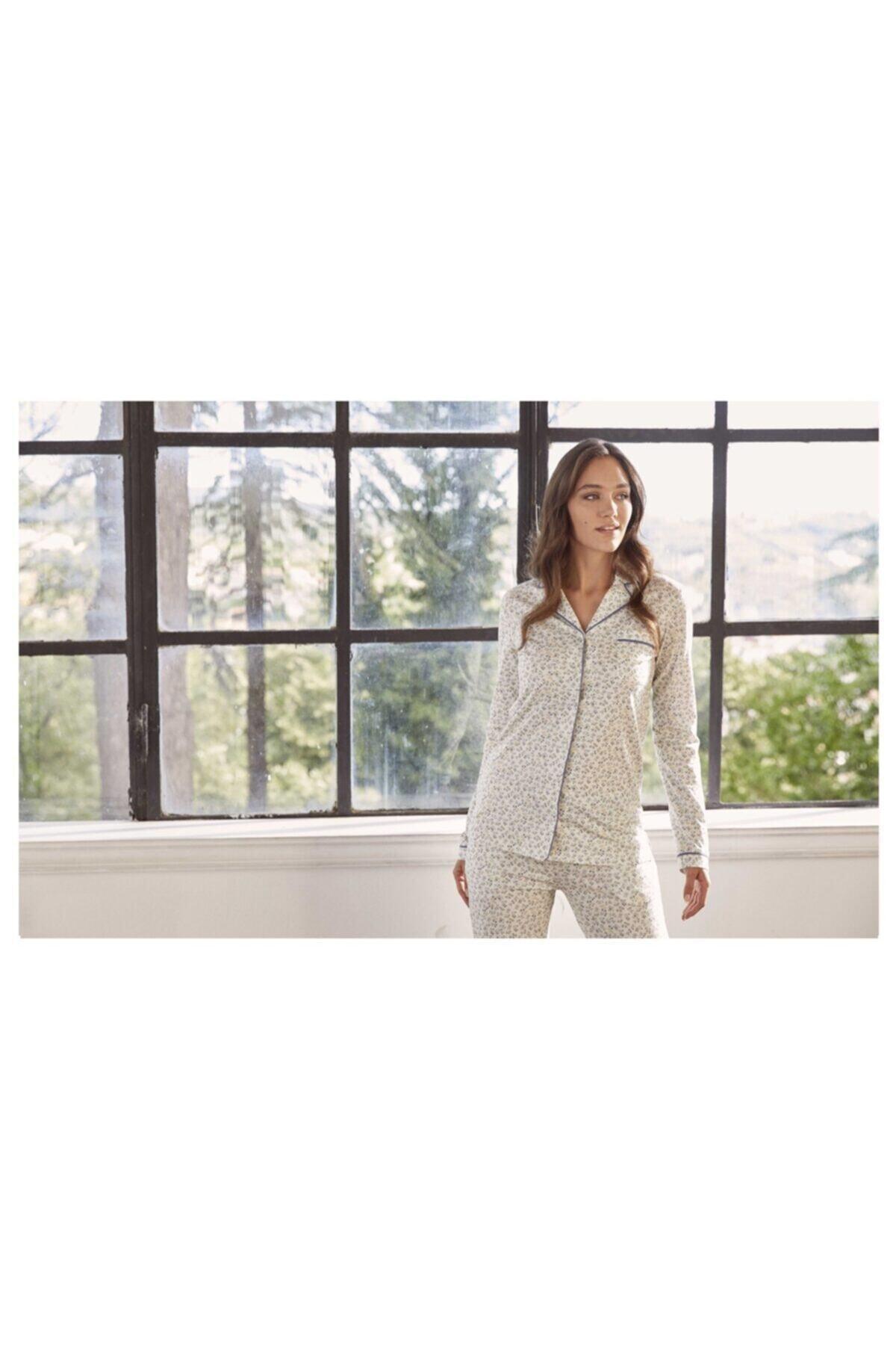 Eros Kadın Ekru Gömlek Pijama Takımı Esk27660 1