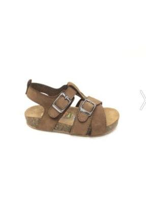 Toddler Unisex Çocuk Kahverengi Doğal Deri Mantar Taban Sandalet 23-25