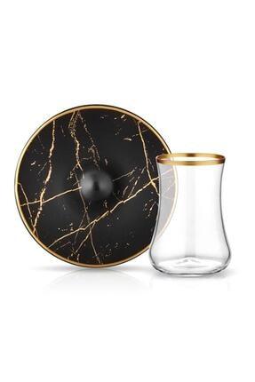 Koleksiyon1 Koleksiyon Dervish Mermer Siyah Mat Altın 6 Lı Çay Seti