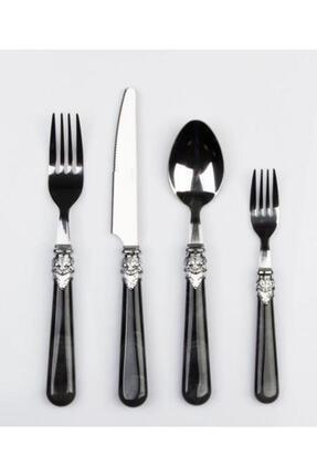 ACAR Maria 24 Parça Çelik Çatal Kaşık Bıçak Seti 500089-siyah