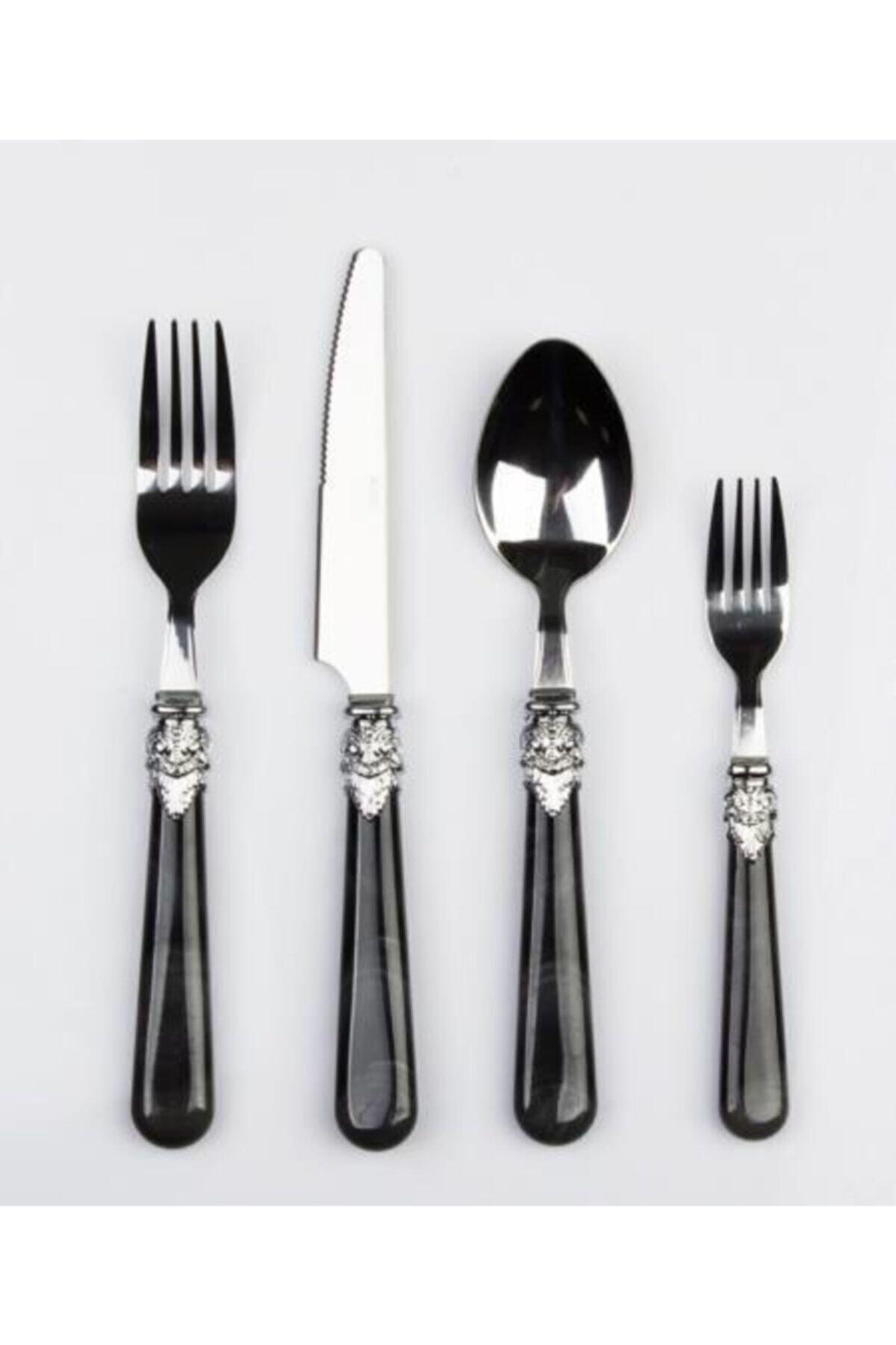 ACAR Maria 24 Parça Çelik Çatal Kaşık Bıçak Seti 500089-siyah 1