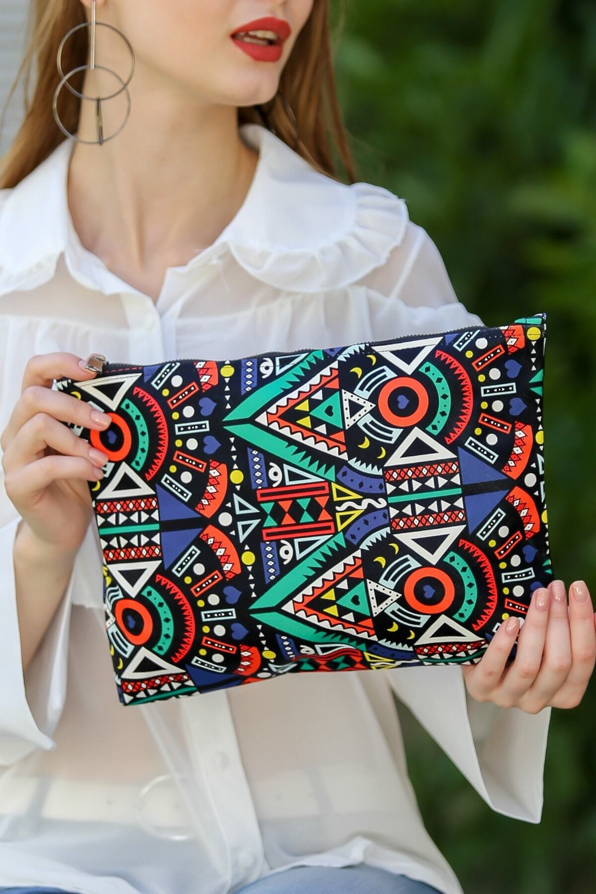 Chiccy Kadın Renkli Vintage Tribal Desenli Vegan Clutch Çanta C30090400Cf97322 1