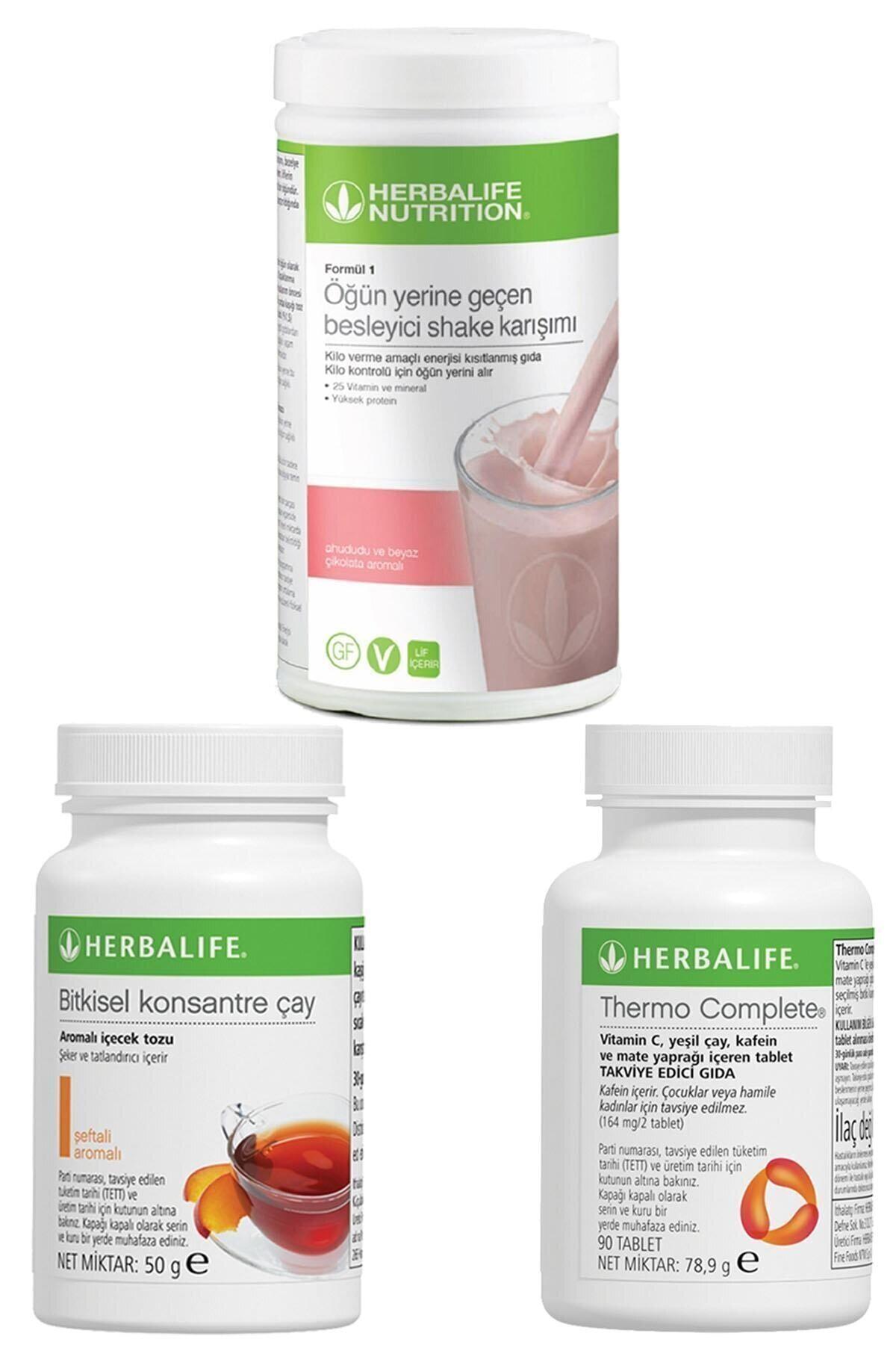 Herbalife Shake Ahududulu Ve Beyaz Çikolatalı, Thermo Complete, Şeftali Çay 50gr Birer Adet 1