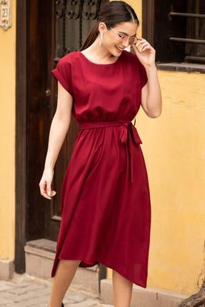 armonika Kadın Bordo Yuvarlak Yaka Beli Bağlamalı Elbise ARM-19Y001028