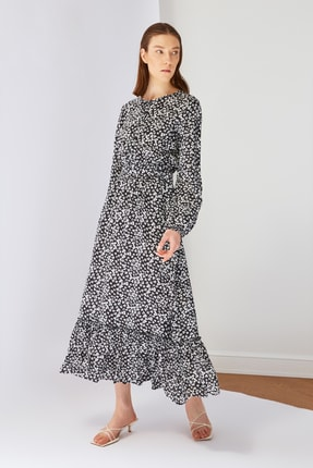 Trendyol Modest Siyah Desenli Viskon Elbise TCTSS21EL3350