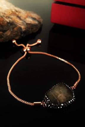 Dr. Stone Kadın Doğaltaş Sitrin Taşı Rose Altın Kaplama Bileklik Krb176