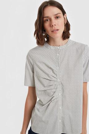 Yargıcı Kadın Lacivert Kırma Detaylı Gömlek 8KKGM6123X