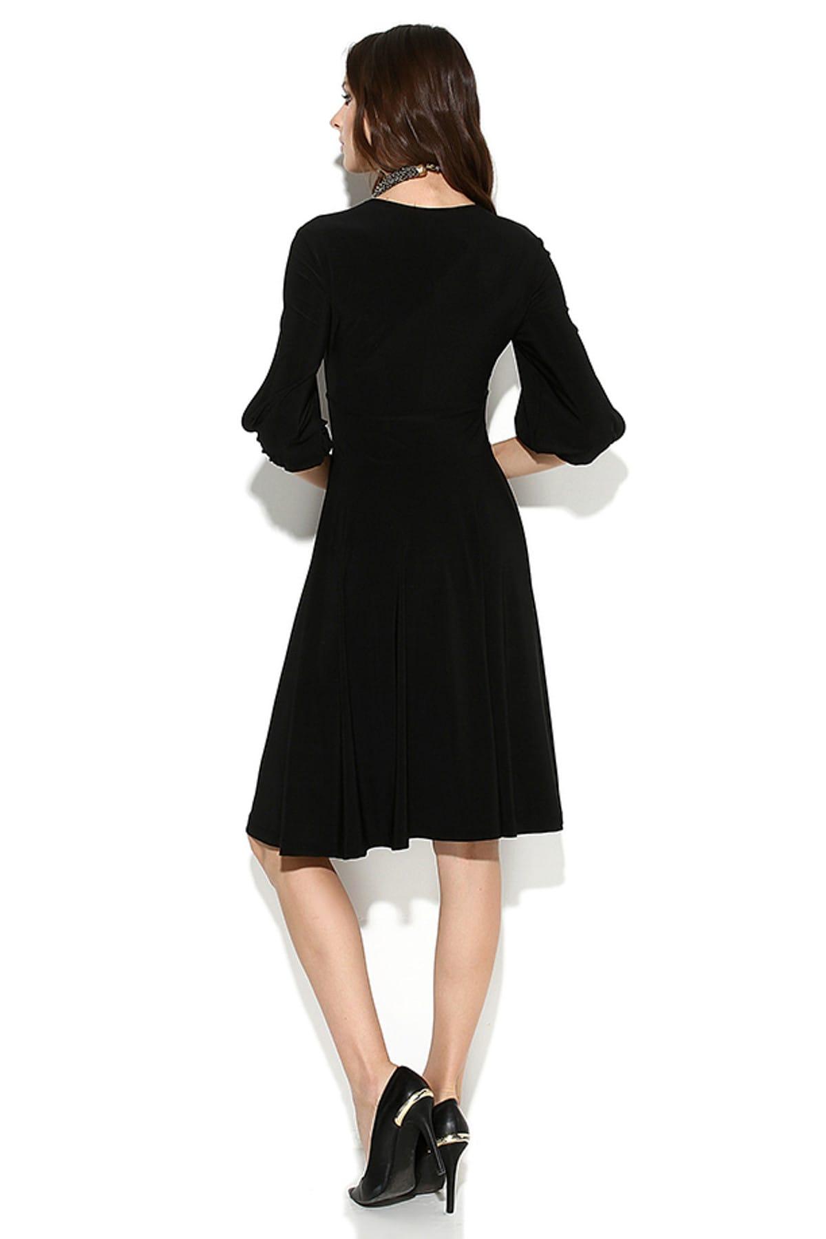 Laranor Kadın Siyah Kolda Yırtmaç Detay Elbise 15L4204 2