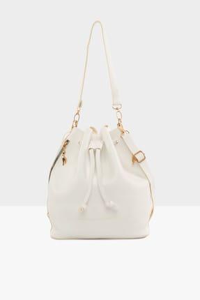 Bagmori Beyaz Kadın Şişe Dipli Büzgülü Fermuarlı Çanta M000002892
