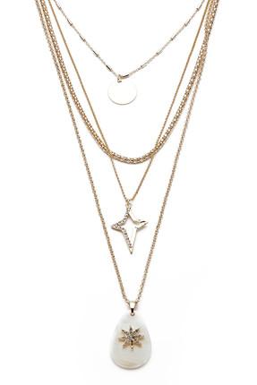 Modex Kadın Beyaz Sedefli Altın Sarısı Çoklu Kolye K8197