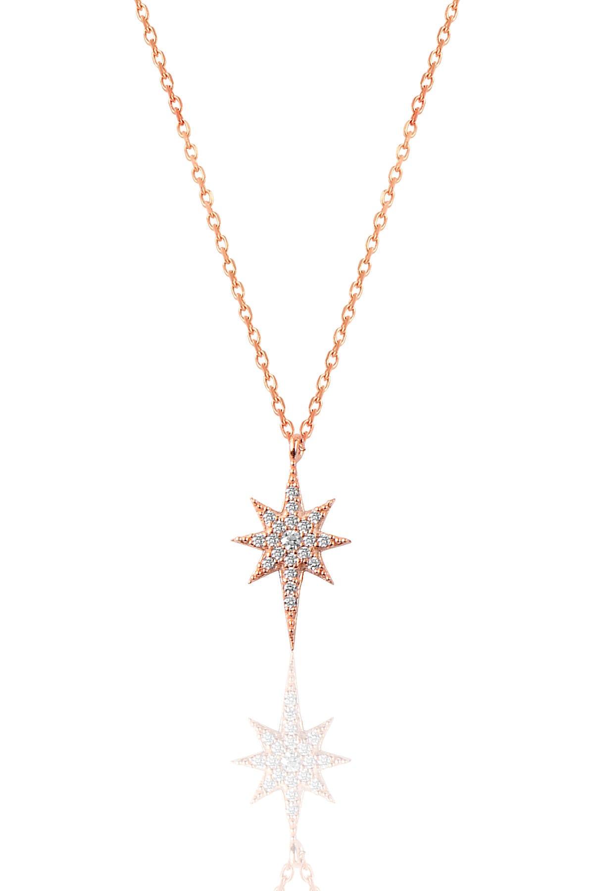 Söğütlü Silver Kadın Gümüş Zirkon Taşlı Kutup Yıldızı Kolye SGTL9568 1