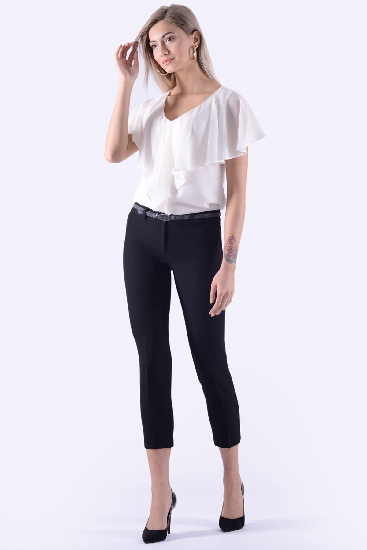 İroni Kadın Siyah Dar Paça Kumaş Pantolon 1581-891K 1