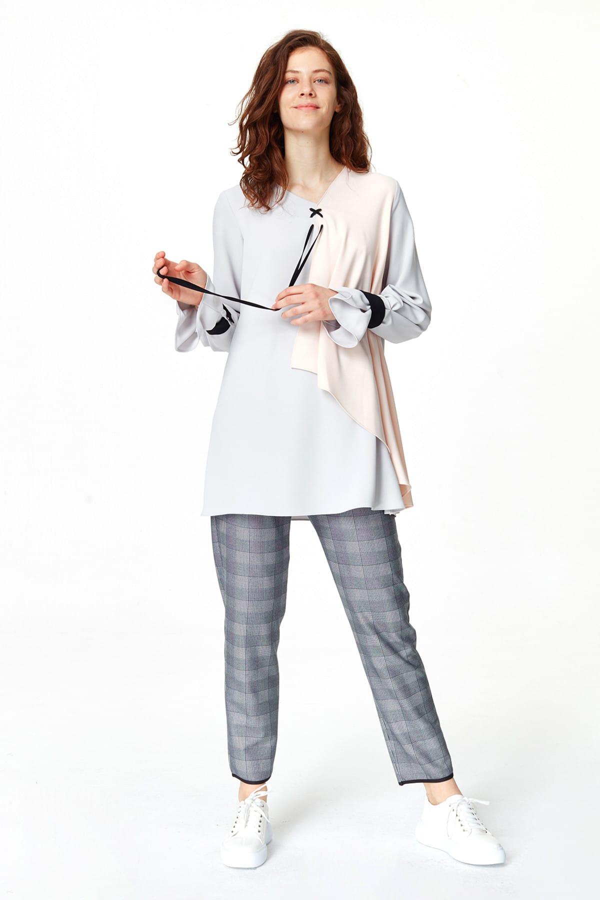 Mizalle Kadın Gri Önü Bağcıklı Tasarım Bluz 19YGMZL1012003 2