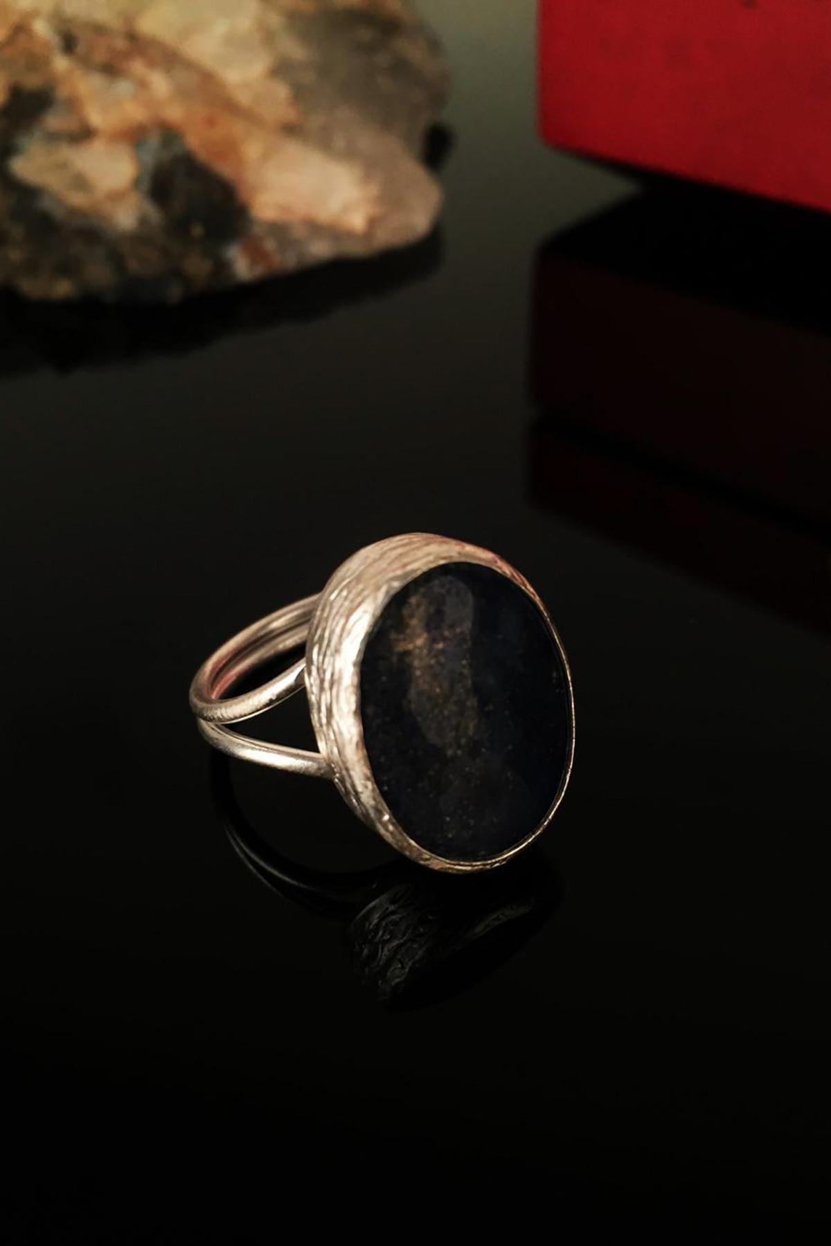 Dr. Stone Kadın Doğaltaş Lapis Lazuli Taşı Gümüş Kaplama Yüzük Krb135 1