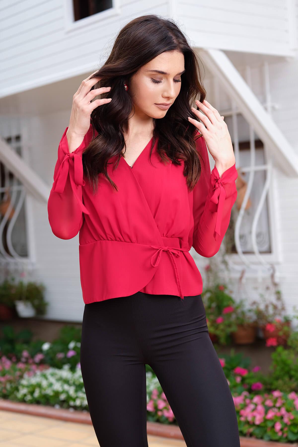 İroni Kadın Kırmızı Kruvaze Yan Bağcıklı Bluz 3969-308 1
