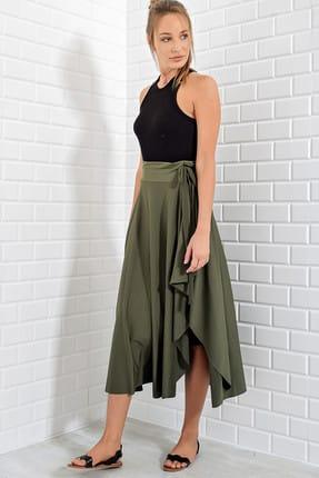 Trend Alaçatı Stili Kadın Haki Asimetrik Kesim Etek ALC-5402