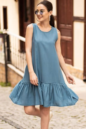 armonika Kadın İndigo Kolsuz Eteği Fırfırlı Elbise ARM-18Y001156