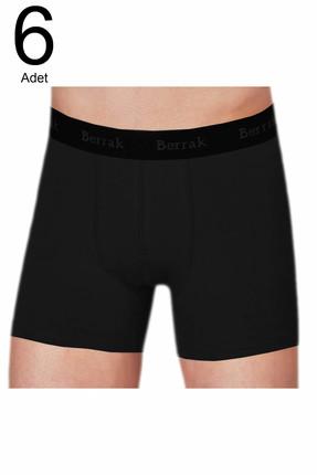 Berrak Erkek Siyah 6'lı Paket  Likralı Modal EsnekBoxer ELF568BER4476CCM6