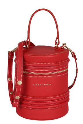 Laura Ashley Kadın Hakiki Deri Silindir Çanta Kırmızı