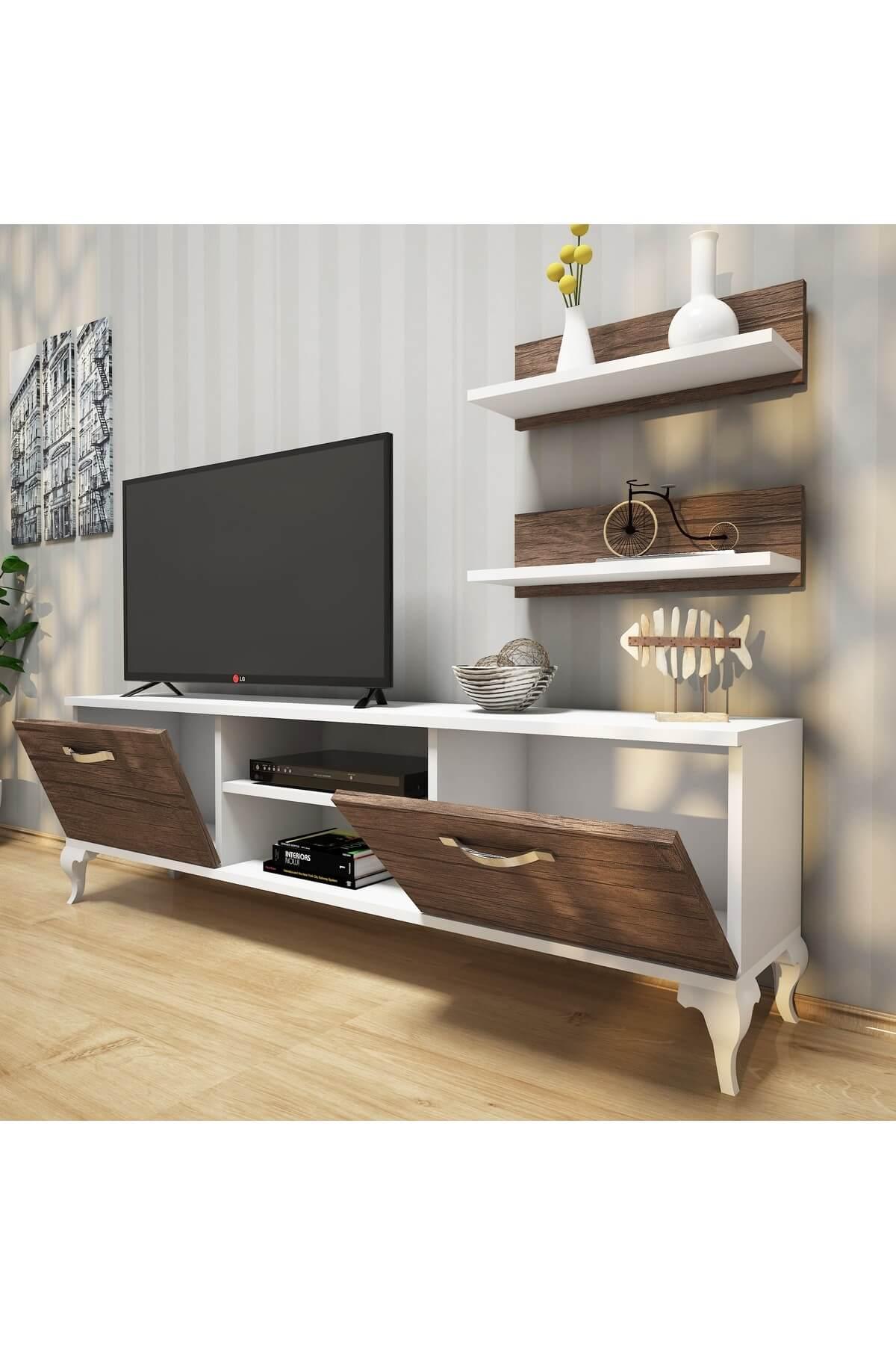 Rani Mobilya Rani A4 Duvar Raflı Tv Sehpası - Kitaplıklı Tv Ünitesi Modern Ayaklı Tasarım Beyaz Ceviz 2