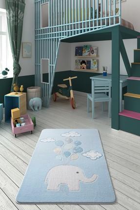 Confetti Sweet Elephant Oymalı Çocuk Bebek Odası Halısı Mavi-133x190