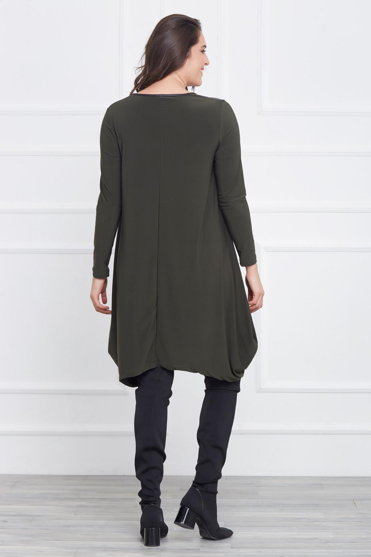 Laranor Kadın Yeşil Deri Detaylı Asimetrik Kesim Elbise 17LB9023 2