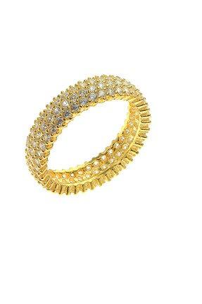 Söğütlü Silver Kadın Gold Rengi Tamtur Üç Sıralı Zirkon Taşlı Yüzük SGTL5735