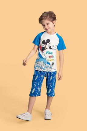 Mickey Mouse Mickey & Minnie Mouse Lisanslı Krem Erkek Çocuk Kapri Takım