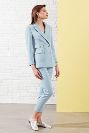 Journey Kadın Mavi Kemer Üstü Çift Düğme Detaylı Duble Paça Klasik Pantolon 19YPNT056