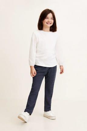 MANGO Kids Lacivert Kız Çocuk Mini puantiye desenli pantolon