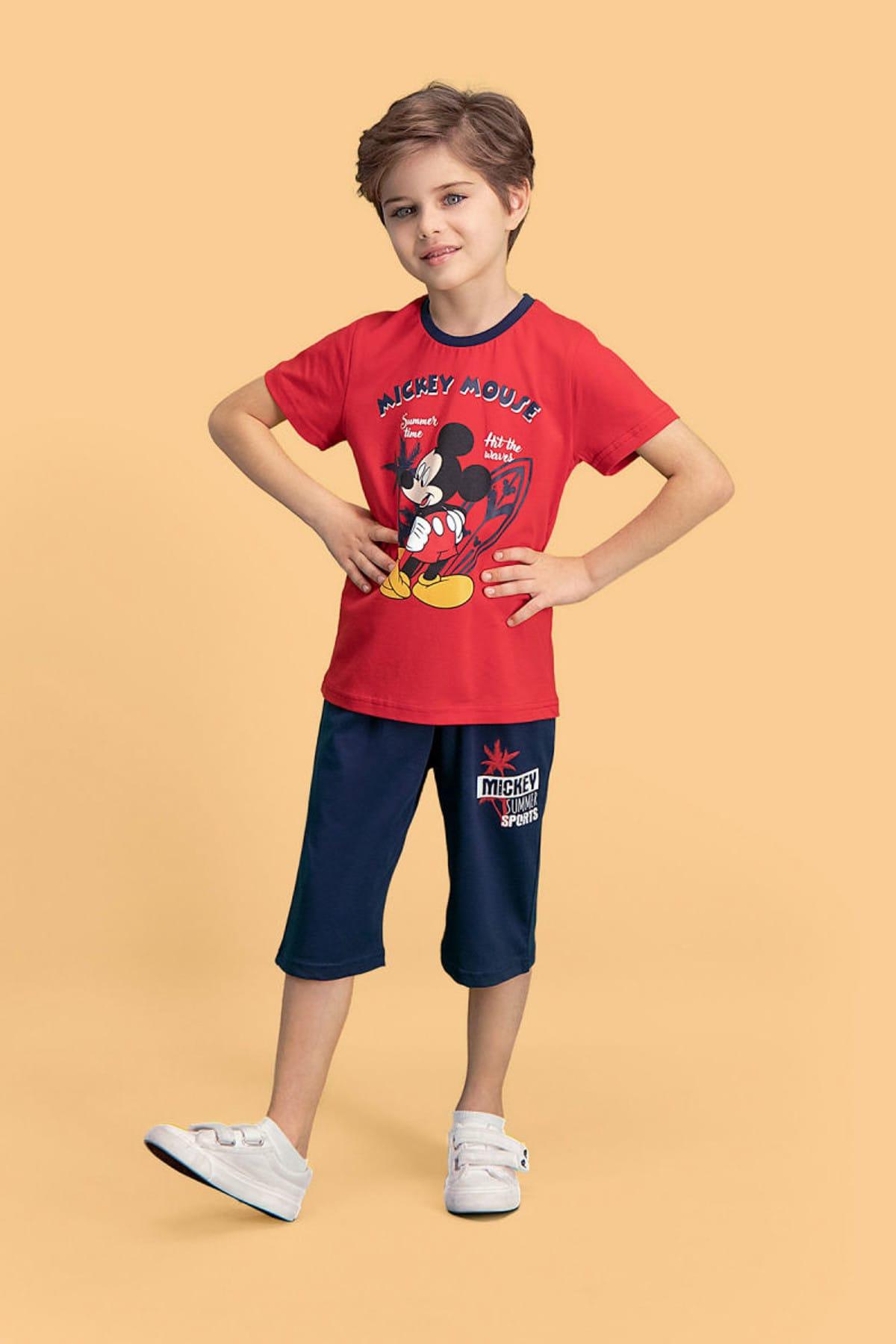 Mickey Mouse Erkek Çocuk Kırmızı Mickey & Minnie Mouse Lisanslı   Kapri Takım 1