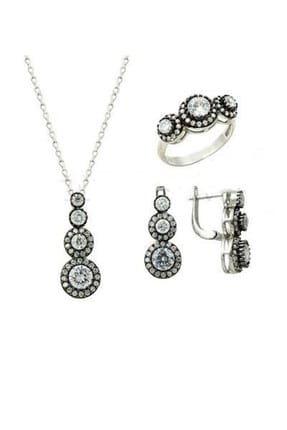 Söğütlü Silver Kadın Tria Elmas Montürlü Rodyumlu Üçlü Set Beyaz-19 set8463