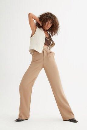 Açelya Okcu Kadın Camel Yüksek Bel Palazzo Kumlu Keten Pantolon
