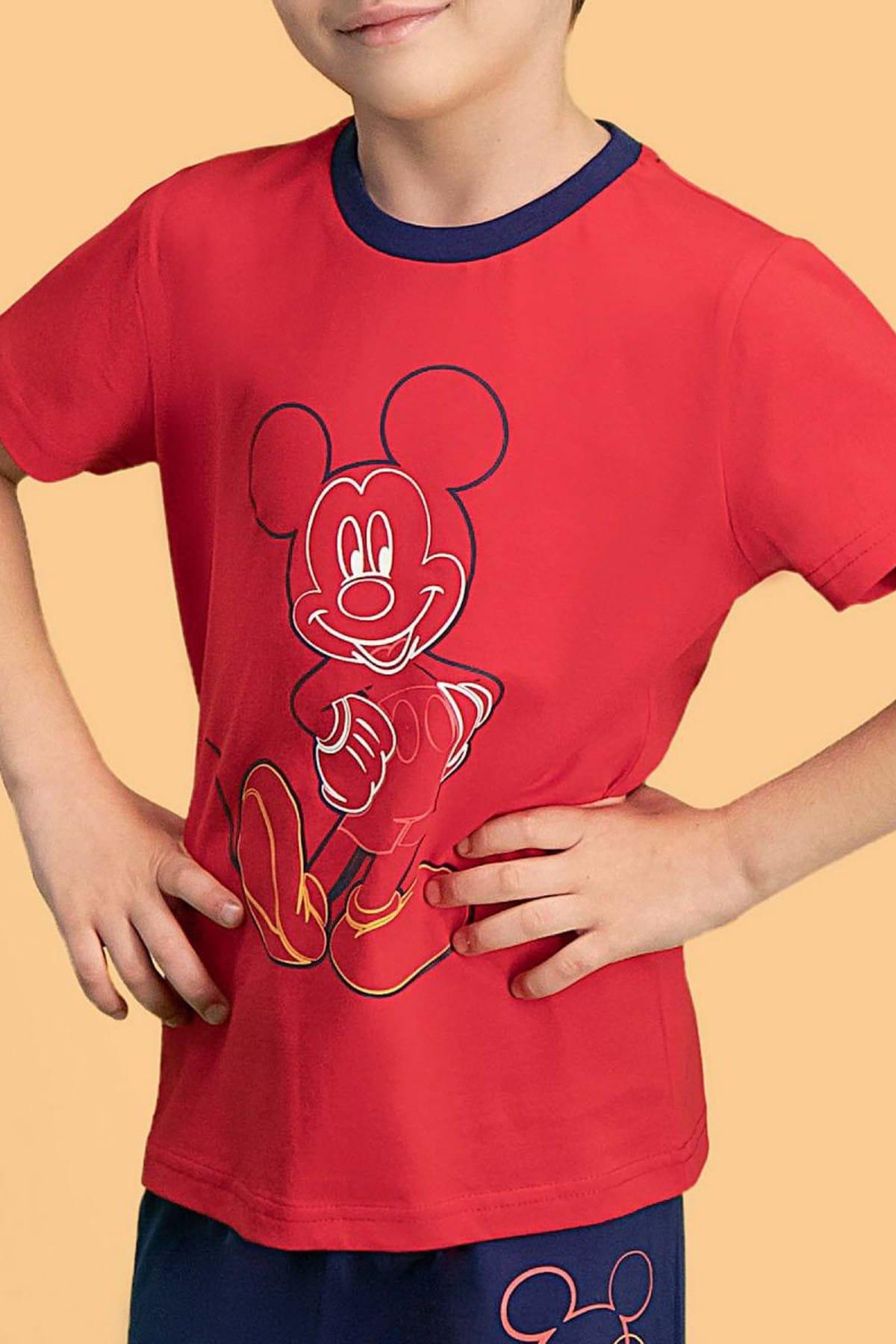 Mickey Mouse Mickey & Minnie Mouse Lisanslı Kırmızı Erkek Çocuk Pijama Takımı 2