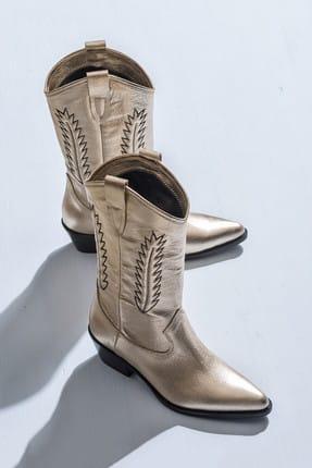 Elle Shoes GILLIANN Hakiki Deri Platin Kadın Bot