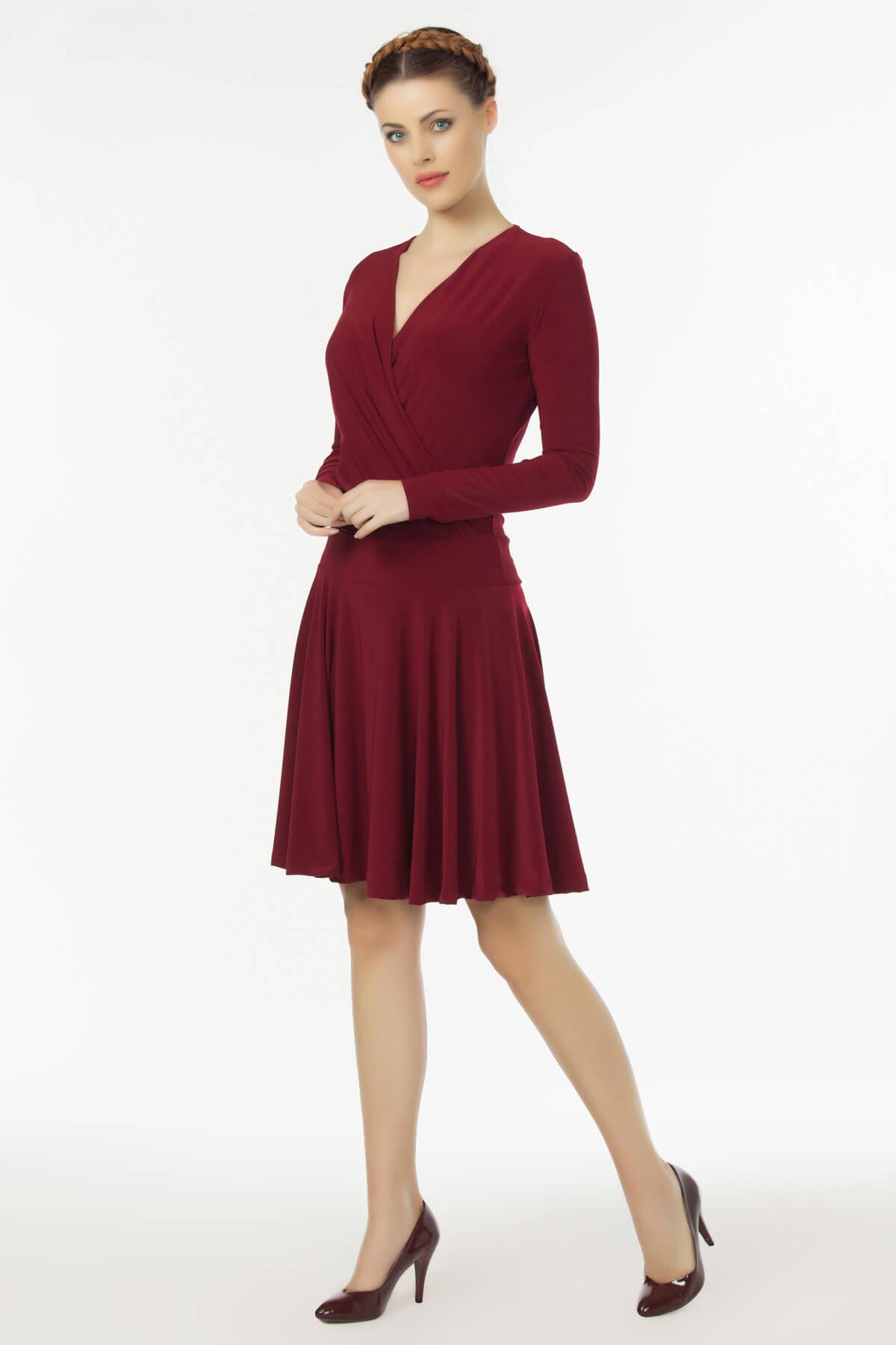 Laranor Kadın Bordo Kruvaze Yaka Elbise 19L6440 1