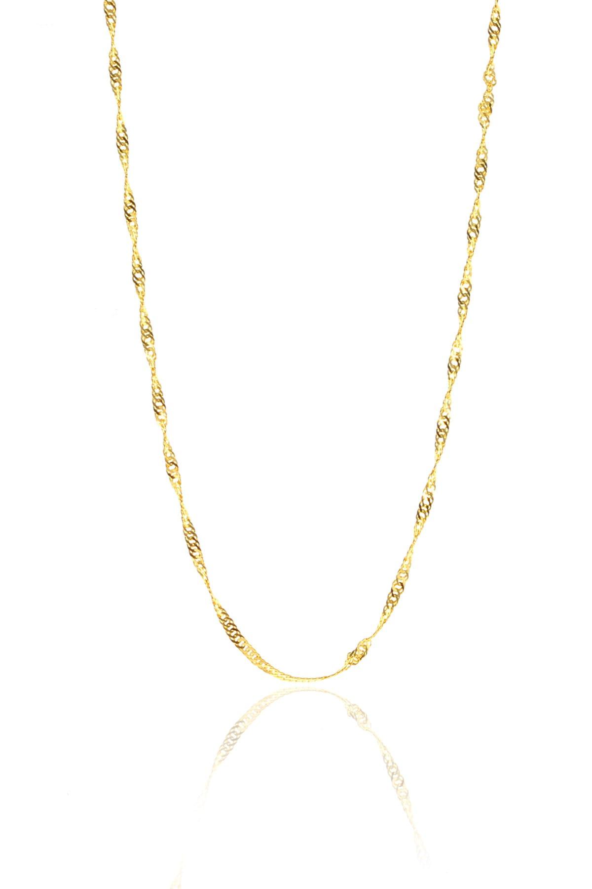 Söğütlü Silver Kadın Gümüş Altın Renkli Singapur Modeli 45 cm Zincir SGTL8933 1