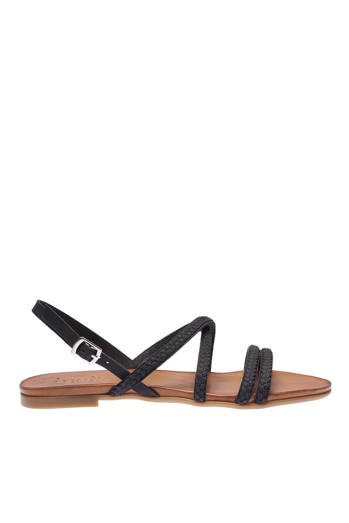 İnci Hakiki Deri Siyah Kadın Sandalet 120120077038 2