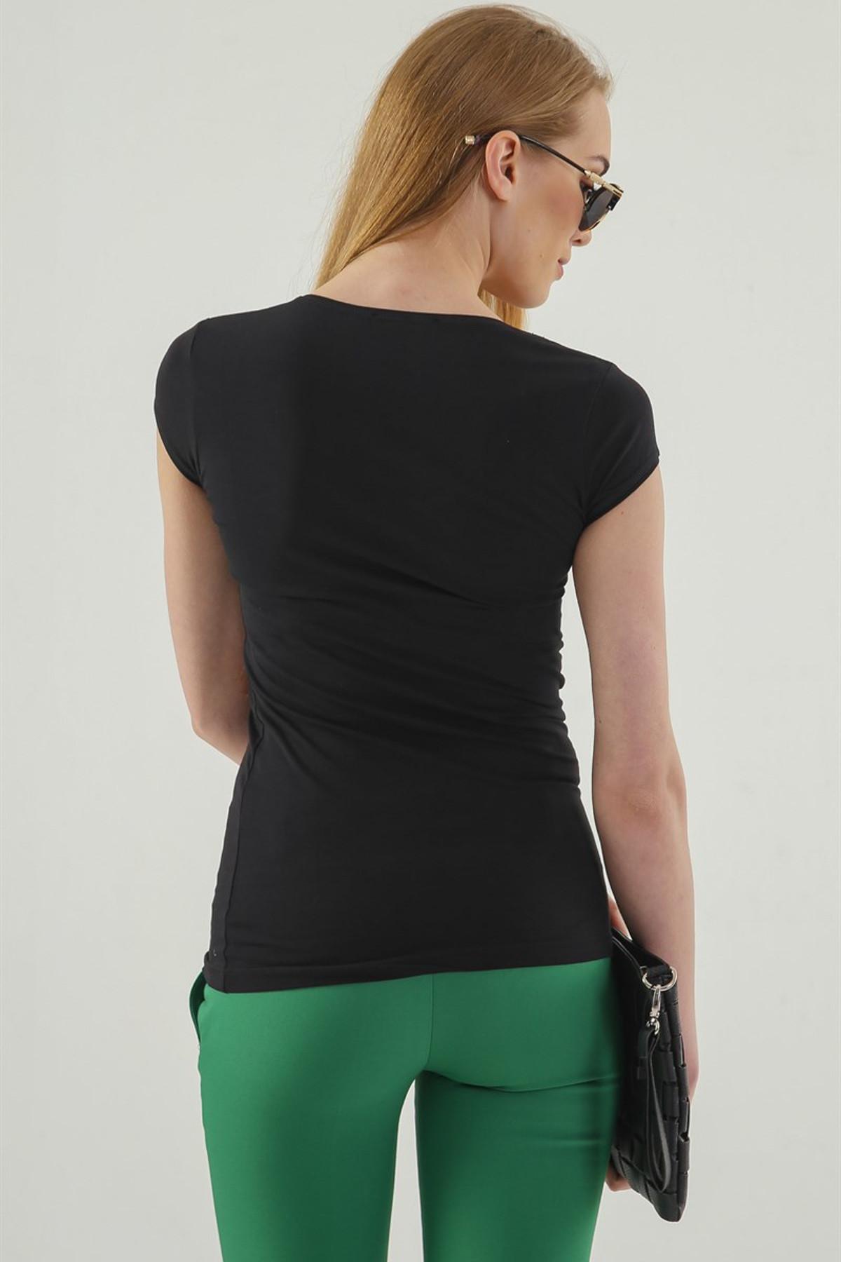 Jument Kadın Siyah Monalisa Balen Yaka Kısa Kol T-Shirt 5610 2