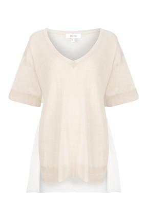 İpekyol Kadın Taş Kumaş Mixli V Yaka Triko IS1190050081030