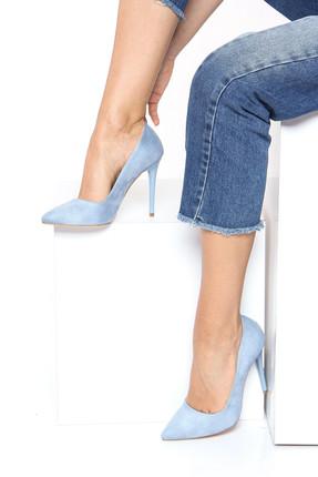 Shoes Time Mavi Süet Kadın Topuklu Ayakkabı 18Y 708