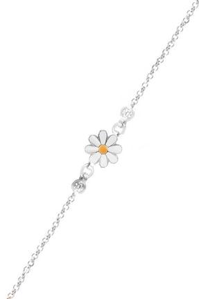 Trend Silver 925 Ayar Gümüş Mineli Beyaz Papatya Çocuk Bileklik