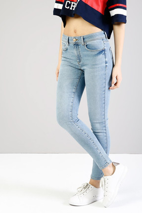 Colin's KADIN 759 Lara Orta Bel Dar Paça Super Slim Fit Mavi Kadın Jean Pantolon CL1034587