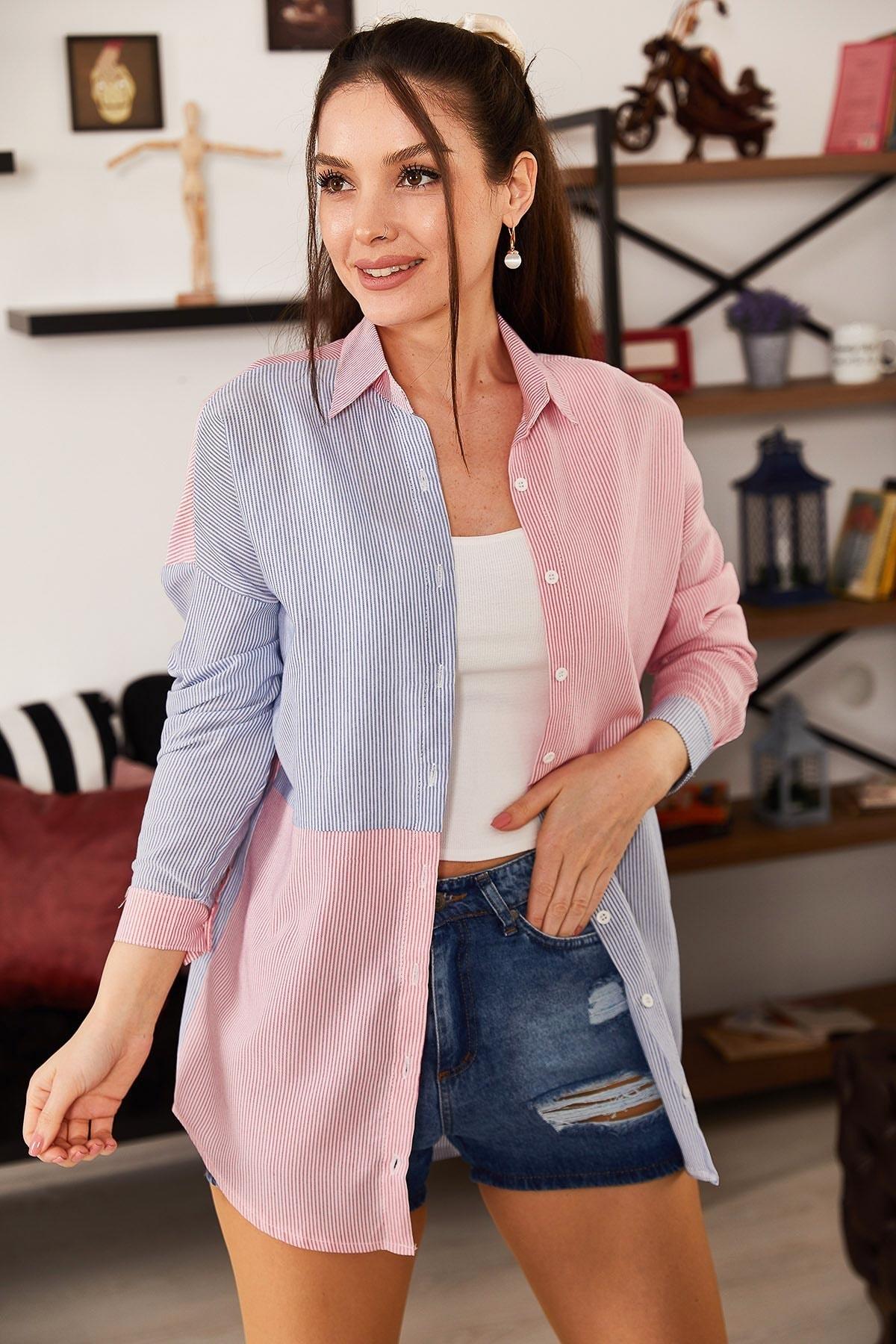armonika Kadın Mavi Çizgili İki Renkli Uzun Kol Salaş Gömlek ARM-21K001193 1
