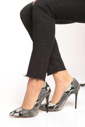 Shoes Time Siyah Beyaz Kadın Topuklu Ayakkabı 18Y 708