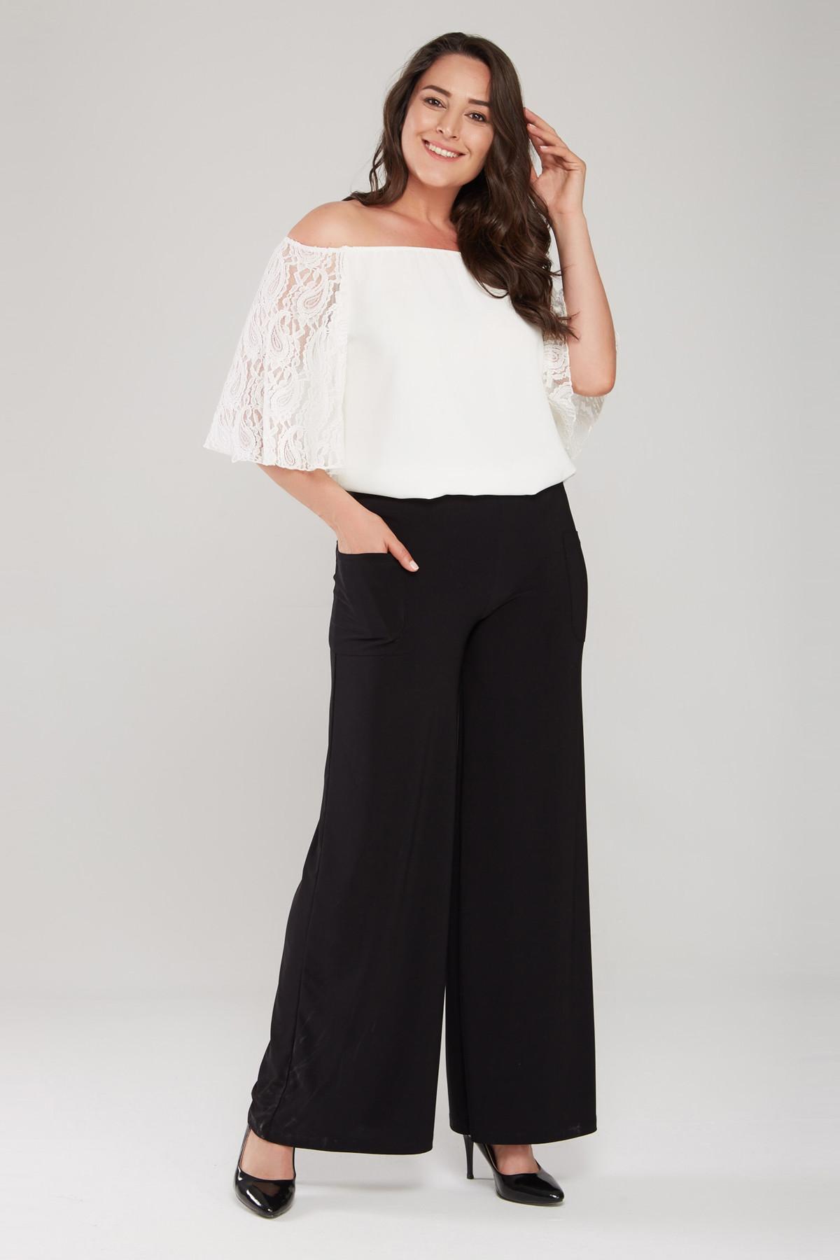 Laranor Kadın Siyah Cep Detaylı Bol Paça Pantolon 17LB9083 2