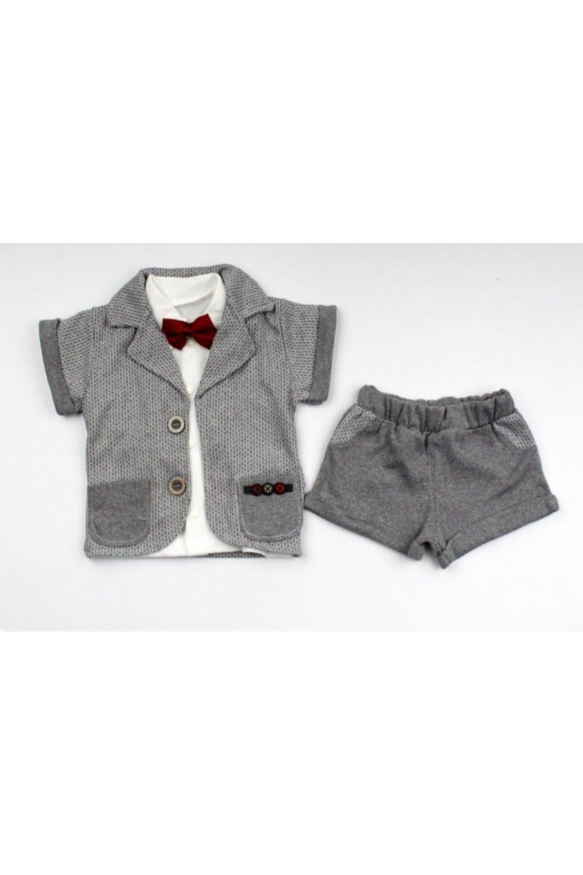 Modimix Erkek Bebek Açık Gri Kısa Kol Cepli 3 Parça Yazlık Takım Elbise 1
