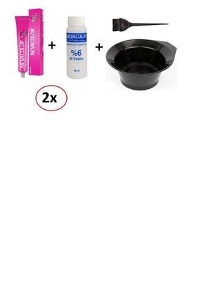 Neva Color Nevacolor Tüp Boya 6.koyu Kumral 2 'li+nevacolor %6 Volume Oksidan 2'li+ Boyama Kabı Ve Fırça Hediye