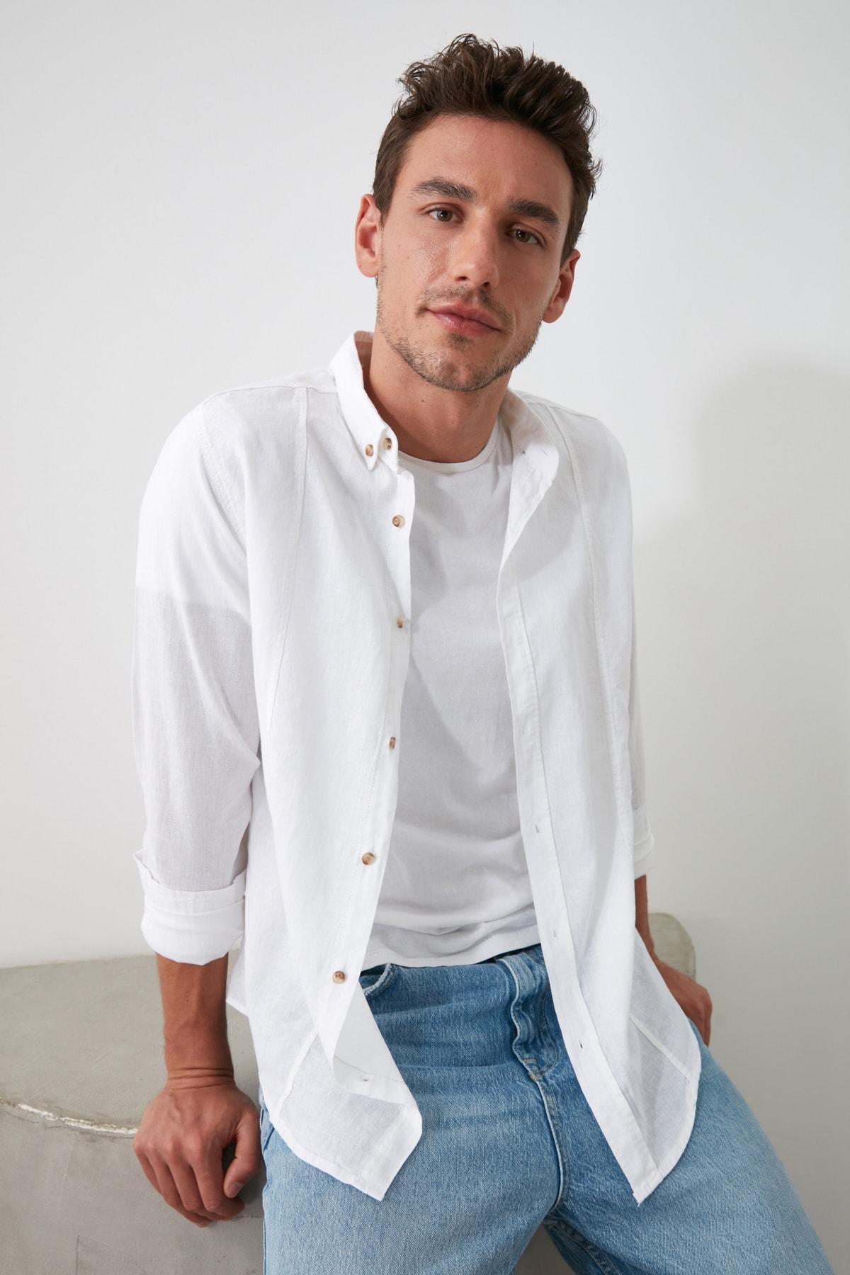 TRENDYOL MAN Beyaz Erkek Keten Gömlek TMNSS20GO0102 2