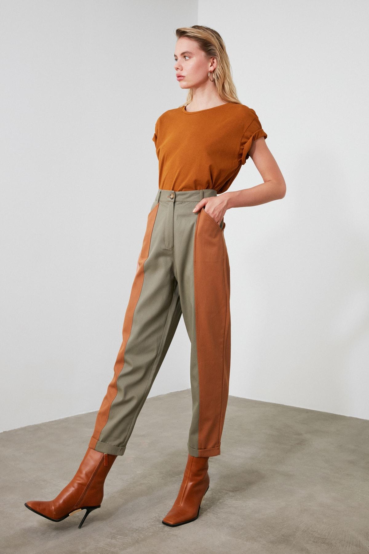 TRENDYOLMİLLA Haki Renk Bloklu Havuç Pantolon TWOAW21PL0120 1